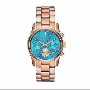 Michael Kors Women's Watch Gold Tone & Aqua face
